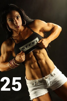 Sexy muscular female body muscles