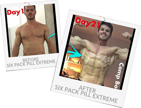 Alex before and after Six Pack Pill Extreme