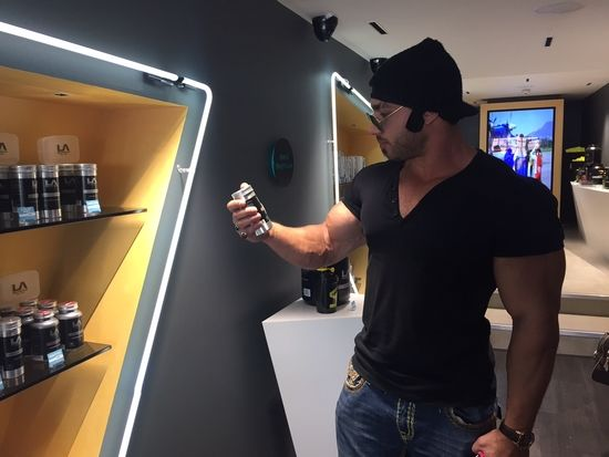 Shredded Diesel checking out his favourite LA Muscle Supplements