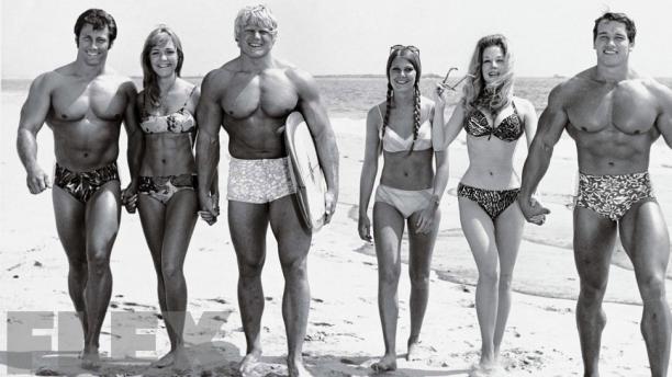 Reg Park, Dave Draper and Arnold Schwarzenegger Venice Beach, Muscle Beach