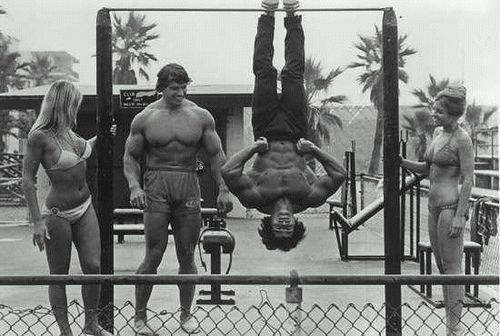 Arnold Schwarzenegger, Franco Columbo, Venice Beach Classic Photo