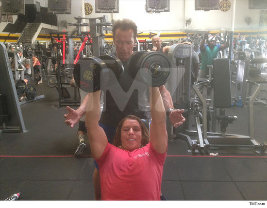 Arnold Schwarzenegger trains son Joseph Baena