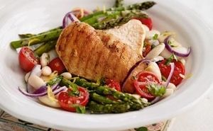 Chicken and Asparagus with White Bean Salad