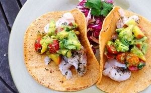 Fish Tacos with Avocado and Asian Style Coleslaw