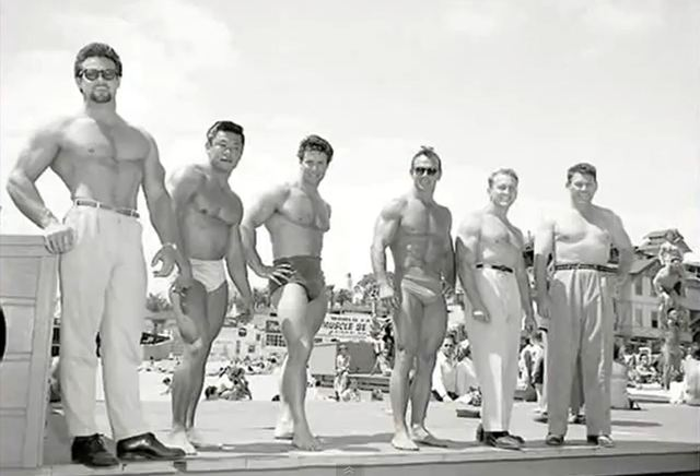 Steve Reeves (Hercules) Reg Park at Muscle Beach, Venice Beach