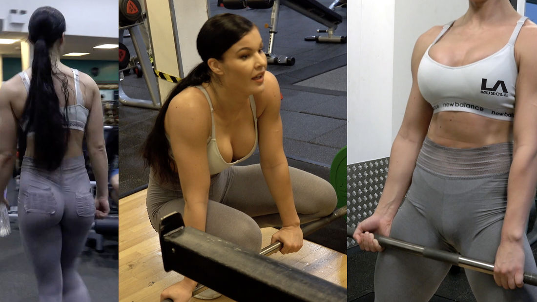 WOW! Hot fitness model trains legs