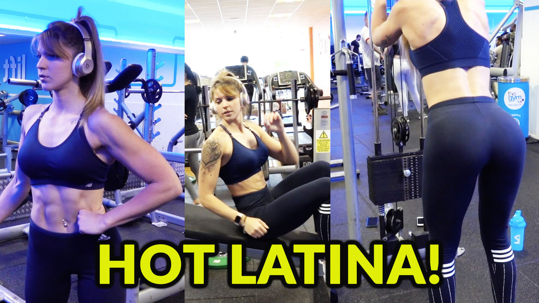 Is this the world's BUSIEST gym? Join Hot Latina Laura as she trains arms & abs