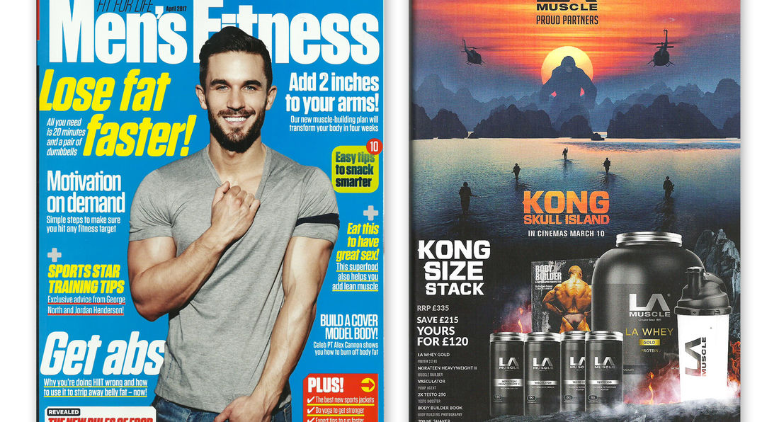 LA Muscle movie partnership feature in Men's Fitness magazine April 2017