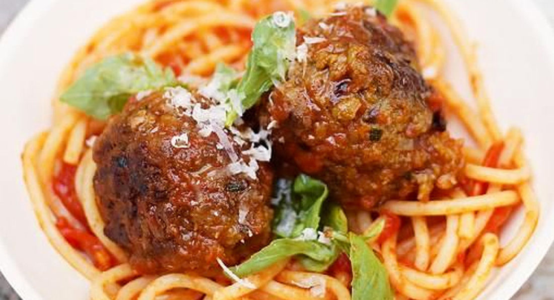 Protein Packed  Lean Beef Spinach Meatball Pasta