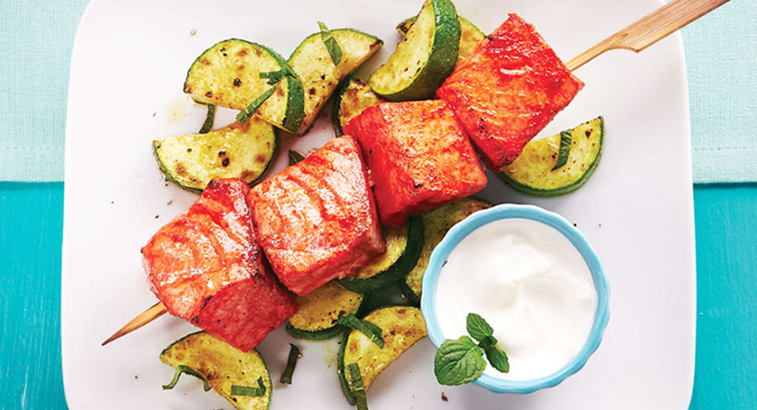 Tasty and Low Fat Salmon Skewers with a Twist