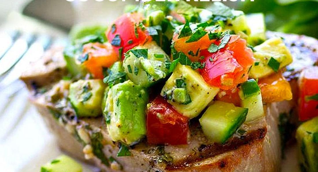 Tuna Steak with Cucumber Relish