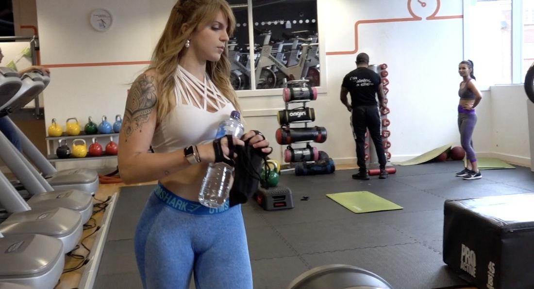 Super-hot Latina Laura Salinas getting ready