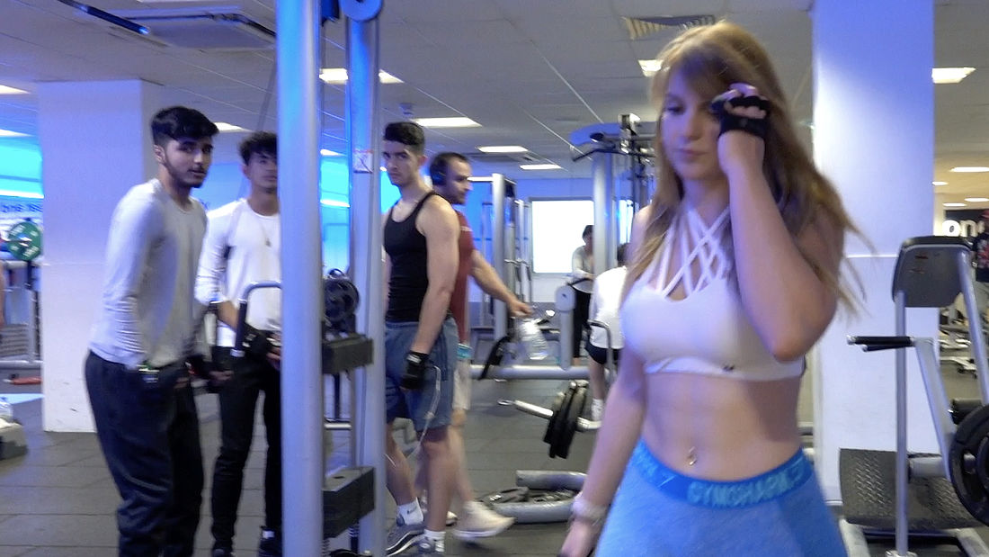 Super HOT Latina tries to train in gym full of NERDS!