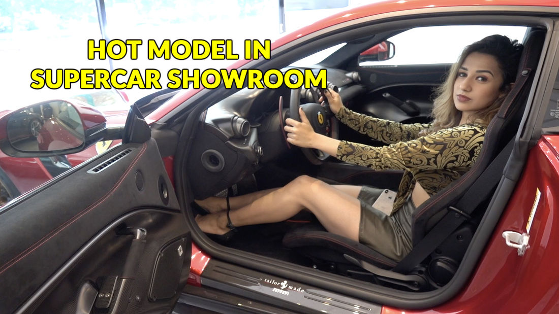 HOT fitness model in London's finest supercar showroom!