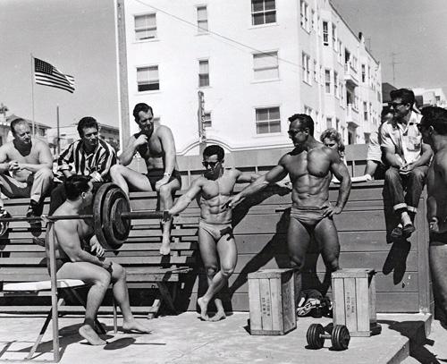Muscle beach, Venice Beach California classic bodybuilding photo