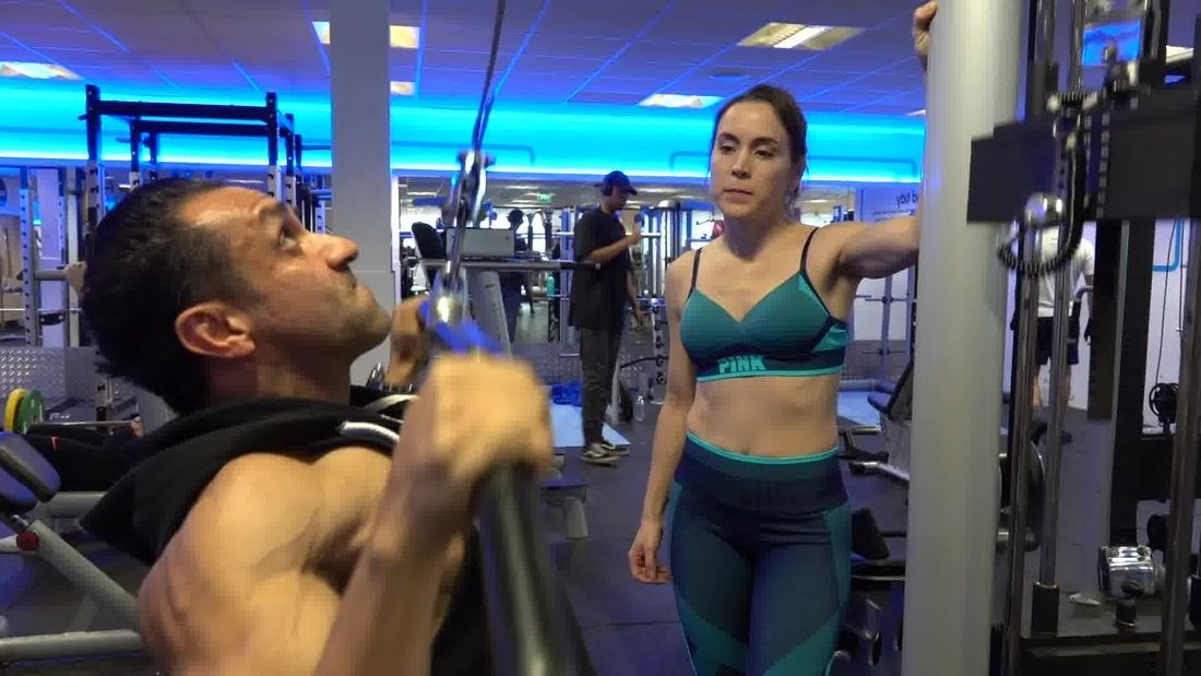 Gym girl gets training from 7 times Mr London