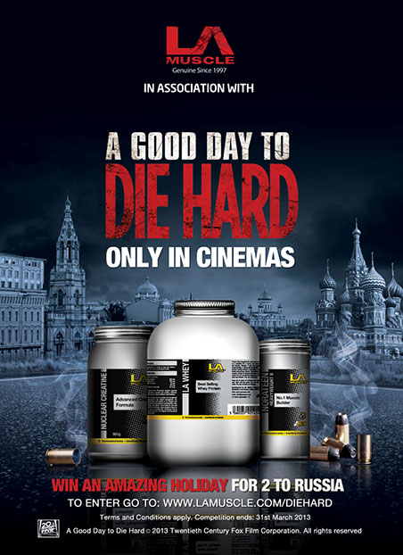 Die Hard movie and LA Muscle as official partner