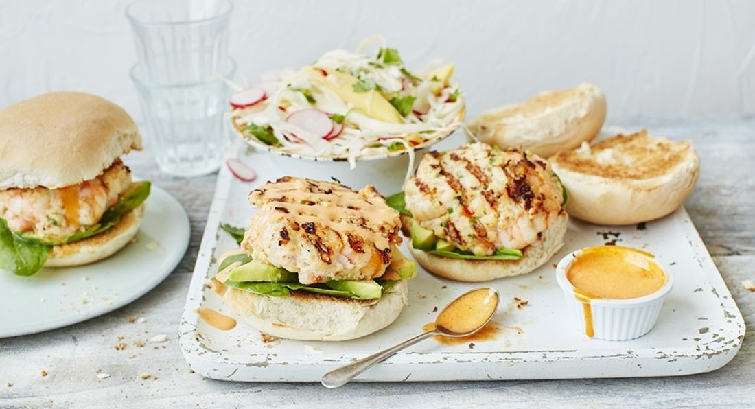 Prawn & Salmon Burgers with Spicy Mayo