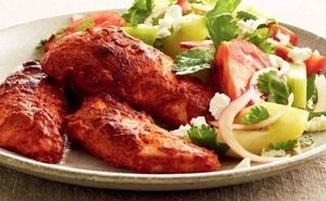 Tandoori Chicken with Curried Chickpeas & Salad
