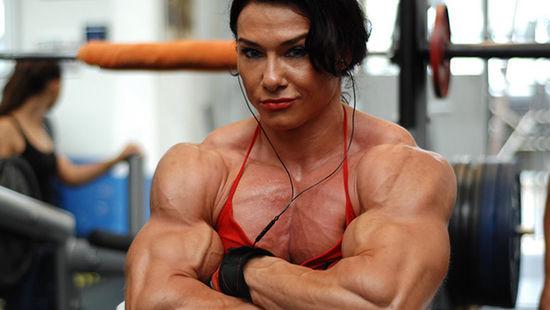 Strong female bodybuilder